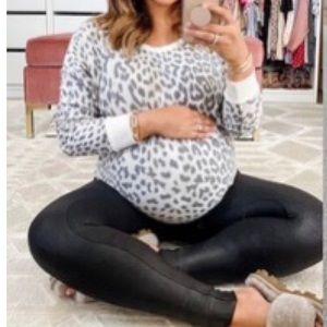 Maternity black vegan leather spanx style leggings